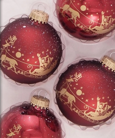 Red & Gold Winter Sleigh Ride Glass Ornaments